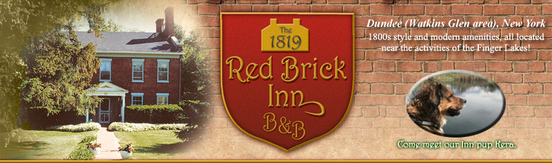 The 1819 Red Brick Inn is a country getaway close to all the action of the Finger Lakes. We are located in between Seneca and Keuka Lakes.